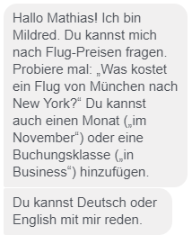 Mein Dialog mit Lufthansa-Chatbot Mildred