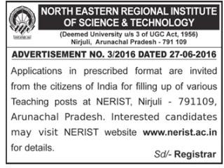 NERIST Recruitment 2016 - 66 Professor, Associate Professor, Assistant Professor Posts