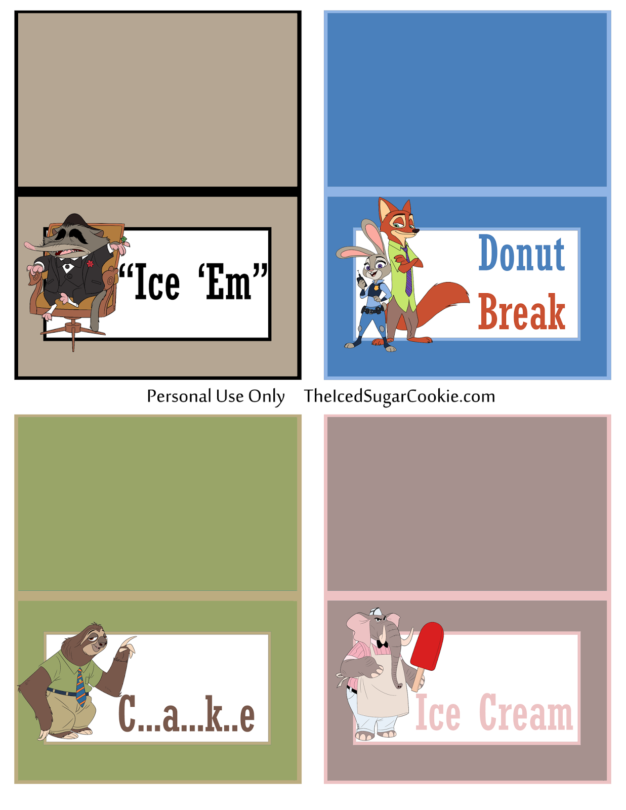 Diy Birthday Blog Make Your Own Diy Zootopia Food Label Cards And Hanging Flag Banner By The