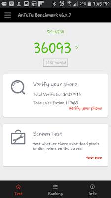 Hasil Score Antutu Benchmark Samsung Galaxy Note 3 Neo : 36093