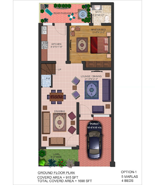 3D Front Elevation.com: 5 Marla Front Elevation & Plan