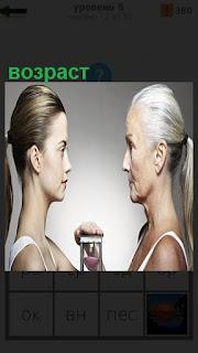 Девушка и женщина с разным возрастом друг перед другом