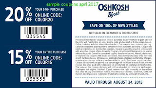free OshKosh B'gosh coupons april 2017