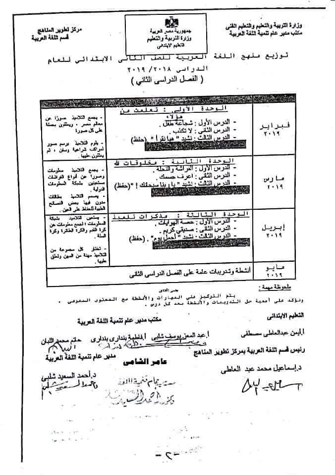 """توزيع منهج اللغة العربية للعام 2018 / 2019 لجميع المراحل  """" ابتدائى - اعدادى - ثانوى """""""