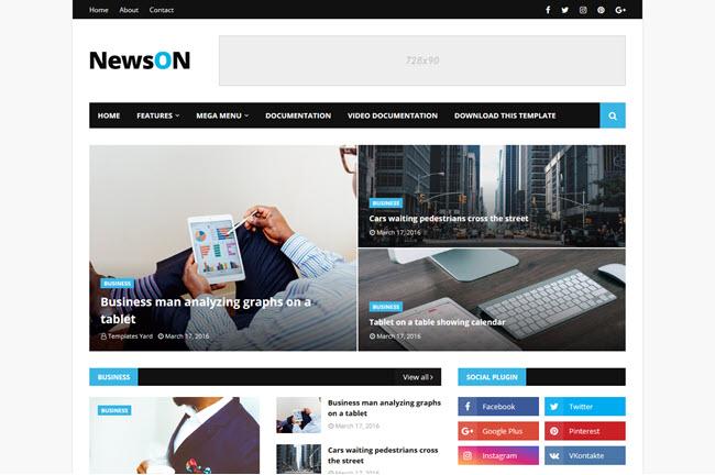 NewsOn – Responsive Magazine Blogger Template