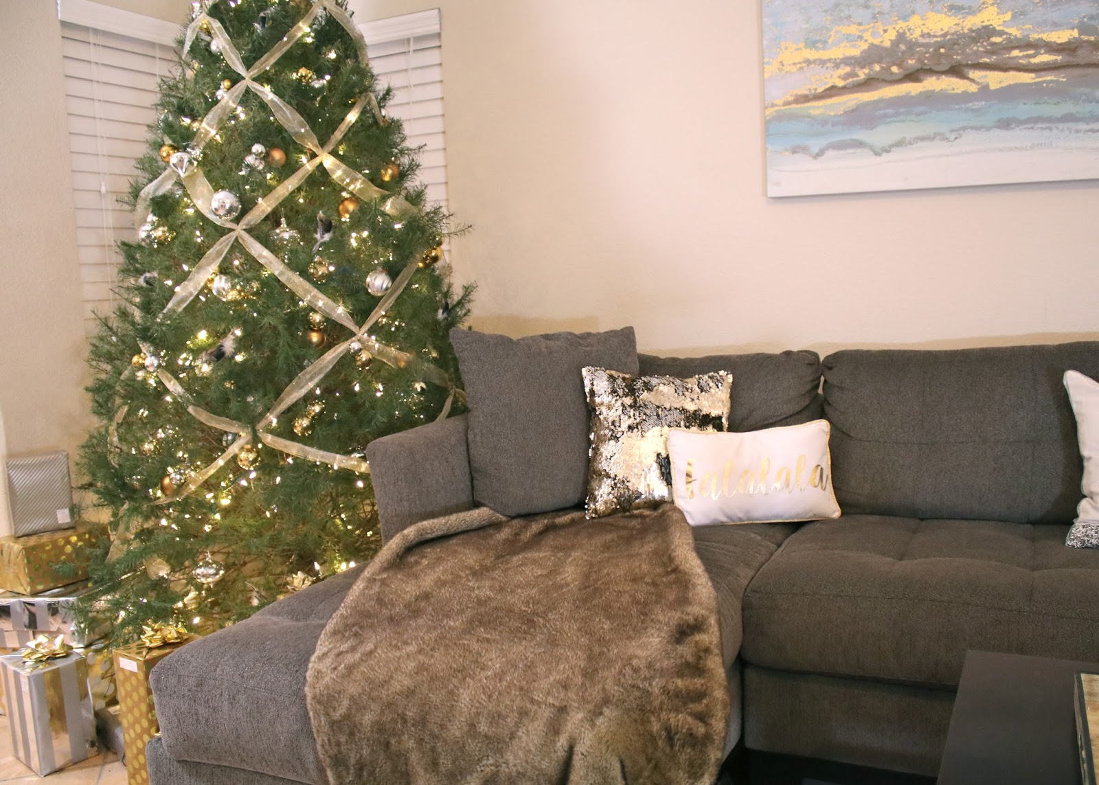 Faux Fur throw and Christmas Tree, gold ribbon on Christmas tree