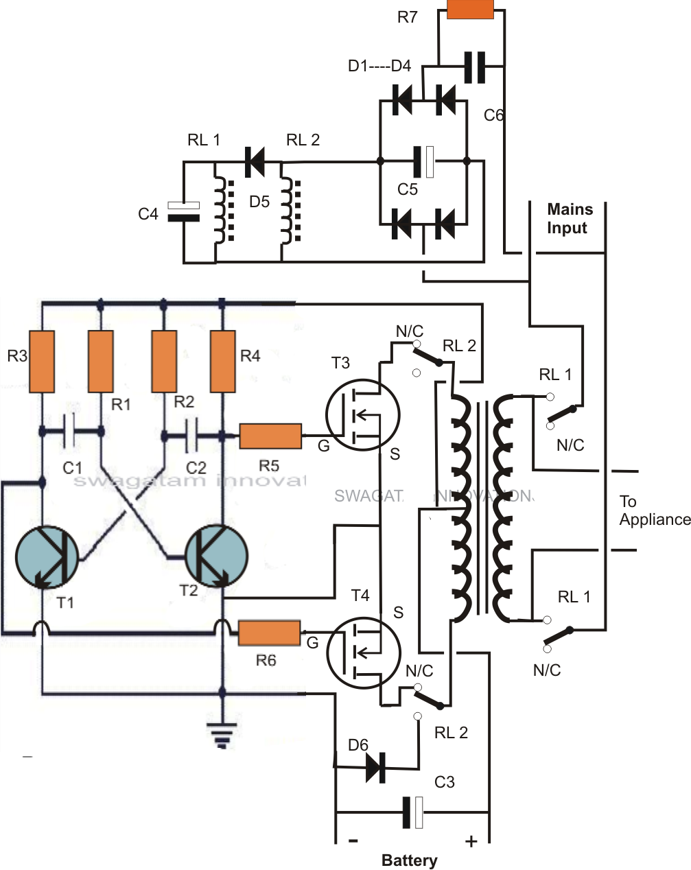 Single Transformer InverterChargerChangeover Circuit - Circuit diagram of an inverter