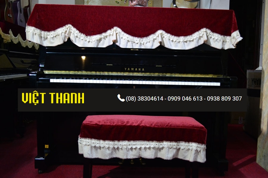 Bán Khăn phủ đàn Piano nhung đỏ ren trắng - KD03 Giá Rẻ. Tphcm