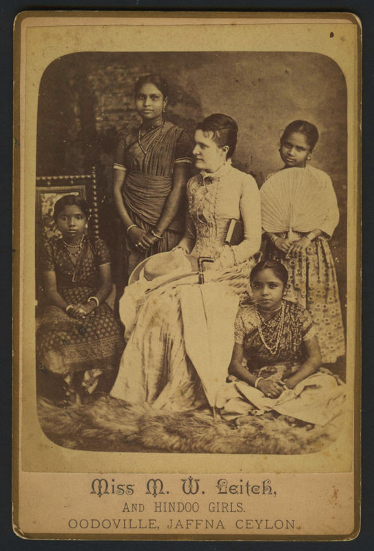 Miss M. W. Leith and Hindoo Girls - Oodoville, Jaffna Ceylogn 1880's