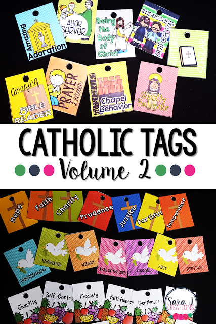Catholic reward tags make celebrating the Catholic faith more fun. This behavior management system can also be used to review Catholic concepts such as the virtues, gifts and fruits of the Holy Spirit and more.
