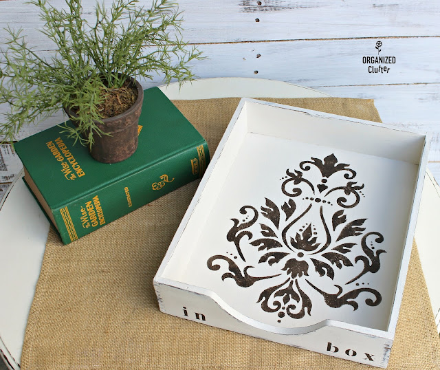 Upcycled Vintage Wooden Desk Tray #stencil #brocade #upcycle