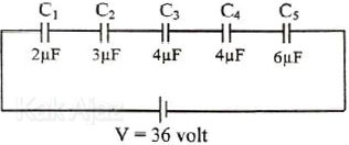 Lima buah kapasitor C1, C2, C3, C4, C5 disusun seri