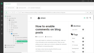 Просмотр сообщения в блоге во внутреннем браузере в Composite C1 CMS 5.0
