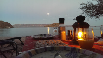 Dinner in the moon light at Coyote Beach Mulege, BCS, MX