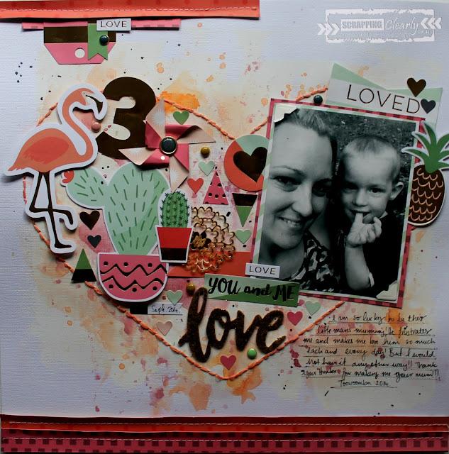 """ Love"" layout by Bernii Miller for Scrapping Clearly using the My Minds Eye - On Trend 2 collection"