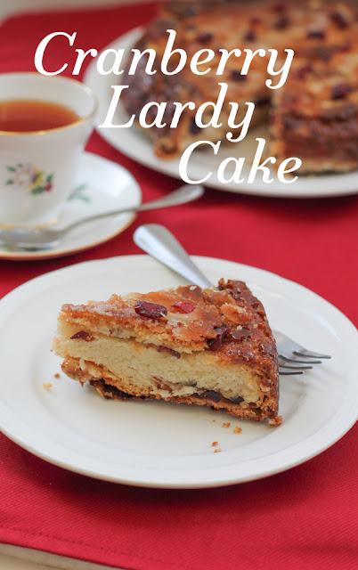 Food Lust People Love: Traditionally, this British afternoon teacake is made with raisin, sultanas and/or currants. My cranberry lardy cake is studded with dried cranberries, but fear not, it is amply filled with the requisite lard and sugar, for a properly respectable teatime treat.