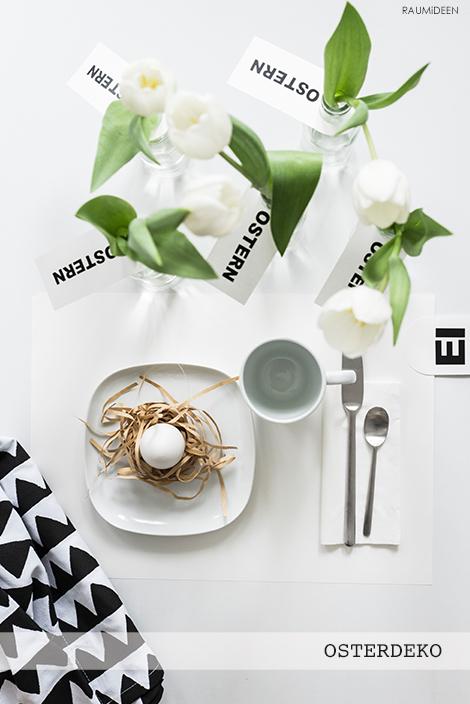Eine österliche Tischdeko - mit Vorlagen zum Ausdrucken.