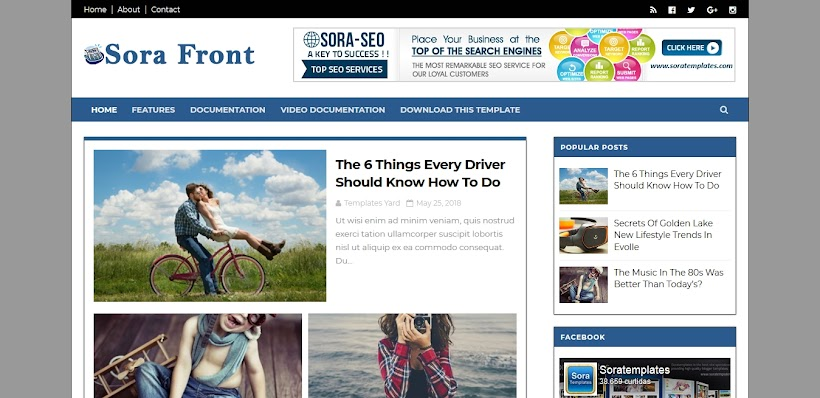 Sora Front Free Blogger Template