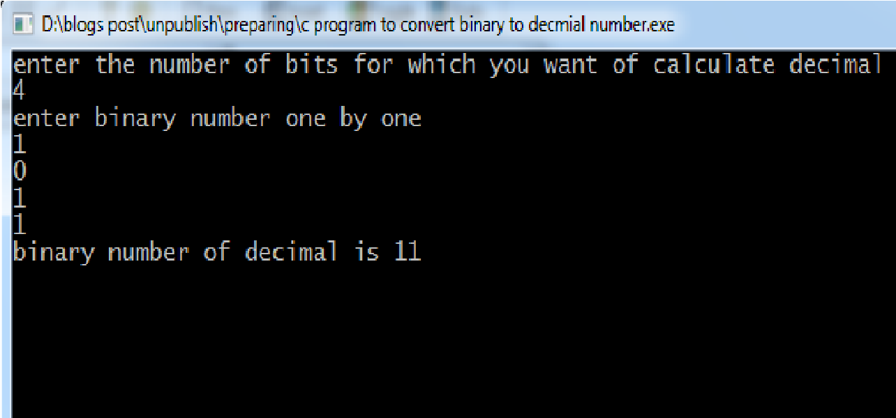write a c program to convert binary number to decimal number using arrays