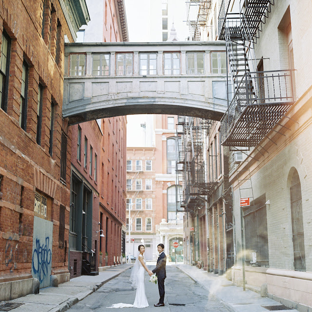 Jihyea and Ben in Tribeca before their intimate wedding at Locanda Verde | Karen Hill Photography