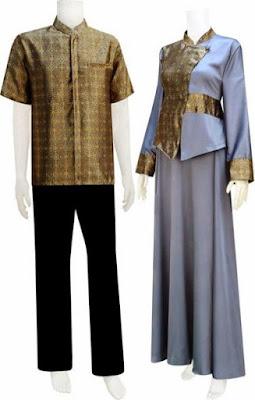 Model Baju Batik Kombinasi Sifon pasangan