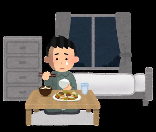 泣きながらご飯を食べる人のイラスト(男性)