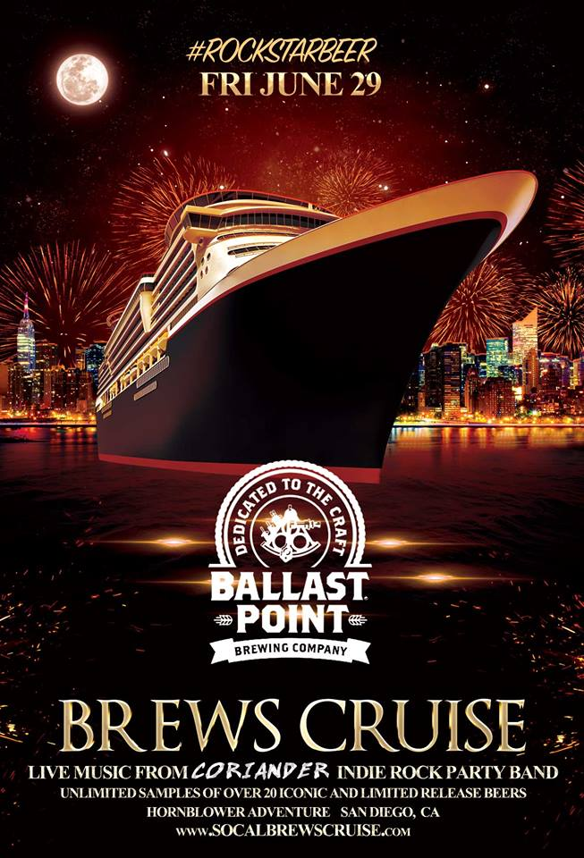 Promo code SDVILLE saves $5 per ticket to the Ballast Point Brews Cruise - June 29!