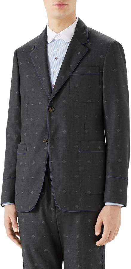 Gucci Bee & Heart Print Wool Sport Coat