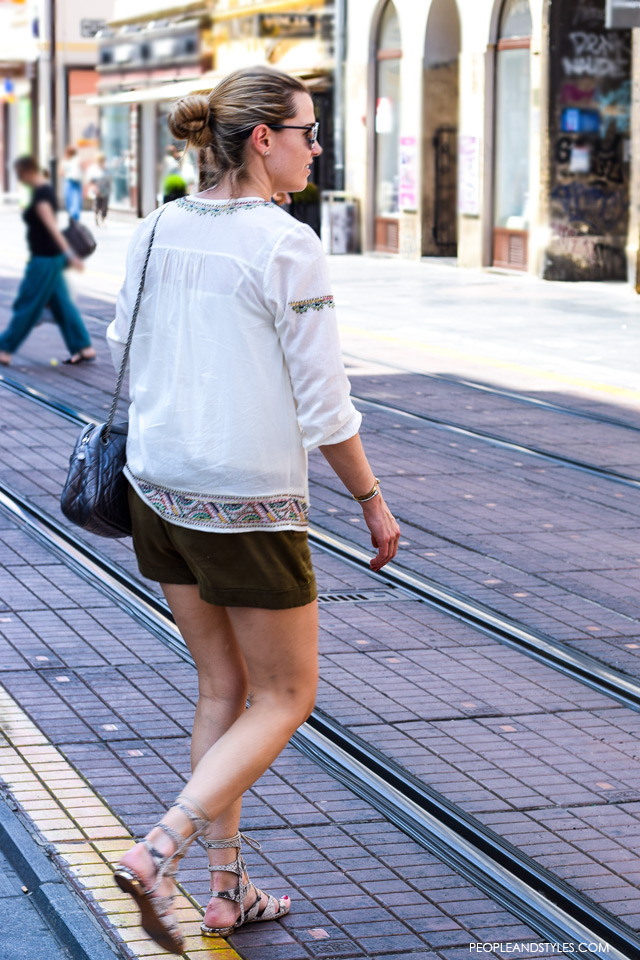 Boho blouse and shorts, gladiators, Street style in Zagreb, summer fashion, June 2015. What to wear to work in summer