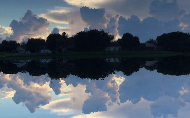 Sky and its reflection on a lake