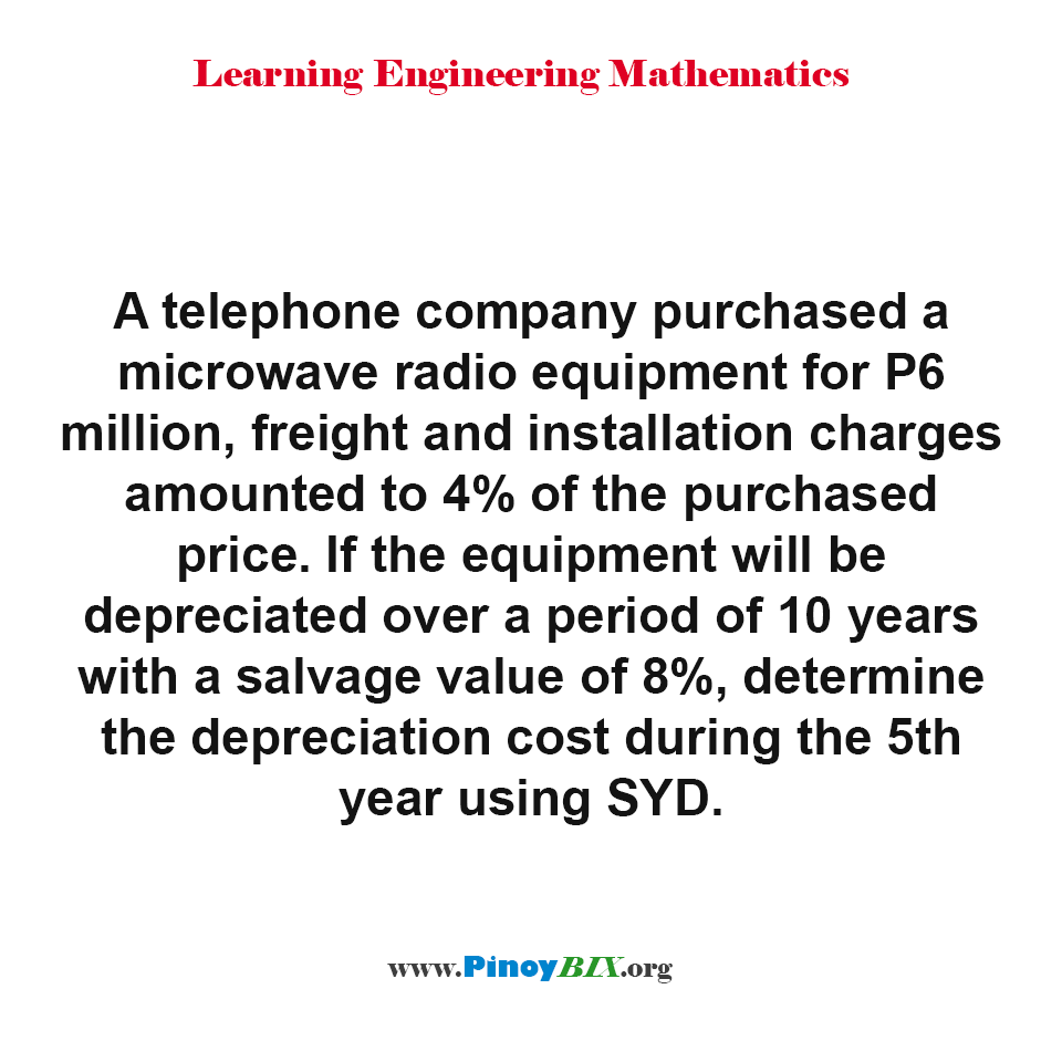 Determine the depreciation cost during the 5th year using SYD.