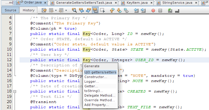 netbeans generate getters and setters