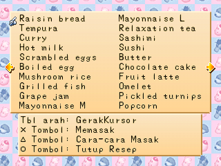 resep masakan Harvest Moon Back to Nature