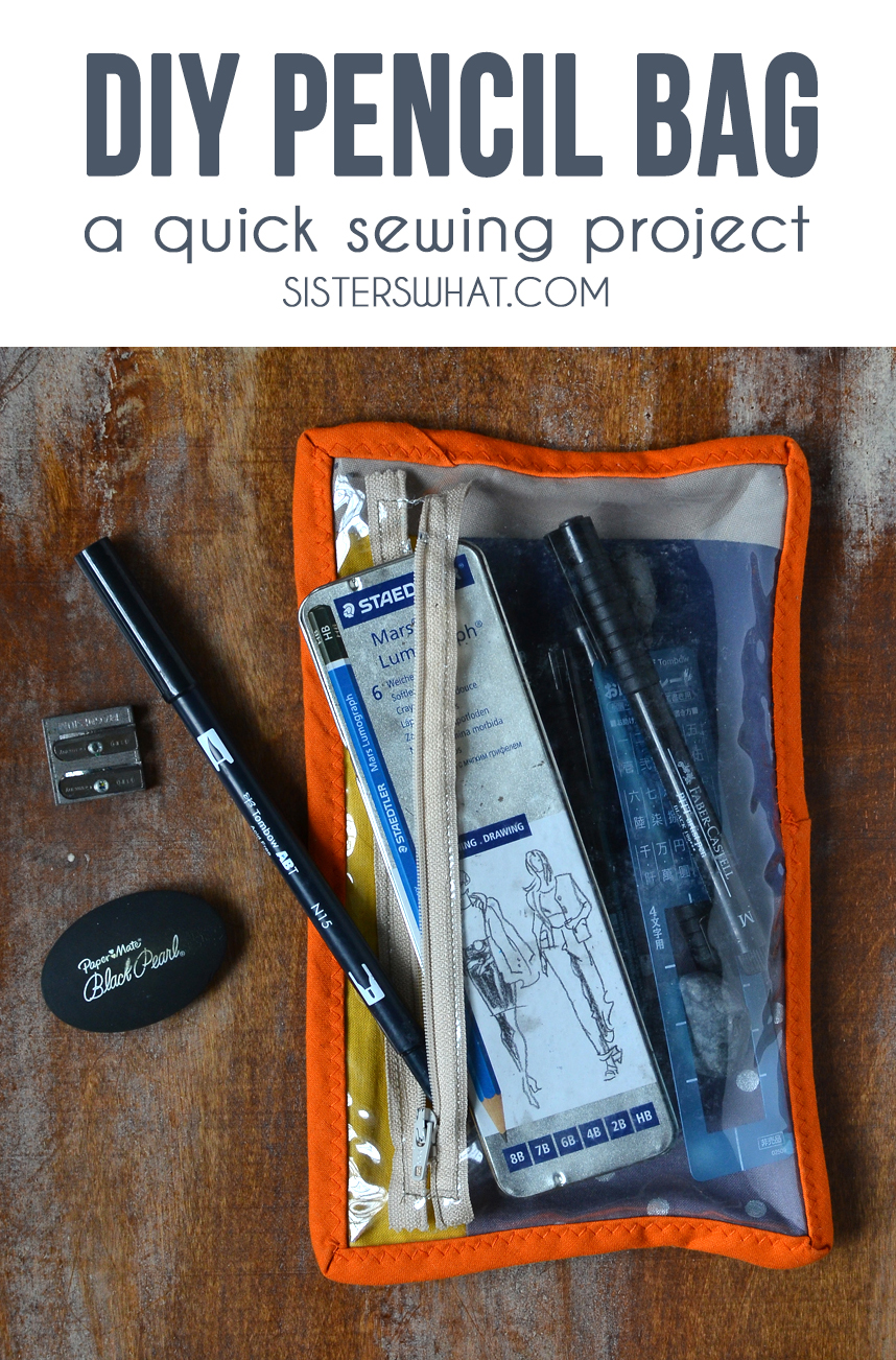 an easy DIY pencil bag sewing pattern perfect for a beginner sewist