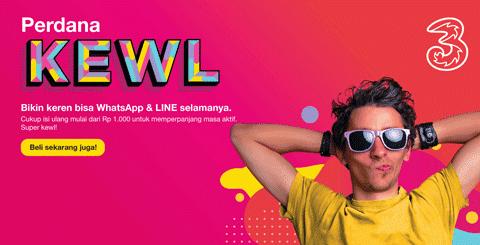 Kartu Perdana KEWL Tri Gratis Whatsapp dan Line Selamanya