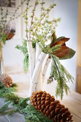 Decoración con piñas y elementos vegetales