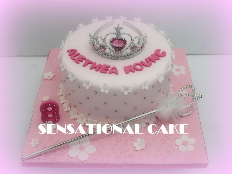 PRINCESS TIARA AND WAND 3D CAKE SINGAPORE FOR GIRLS FLOWERS PINK