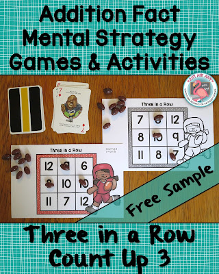 This free sample, Three in a Row partner game, is perfect for applying the Count Up/ On strategy with first and second graders who are developing addition fact fluency.