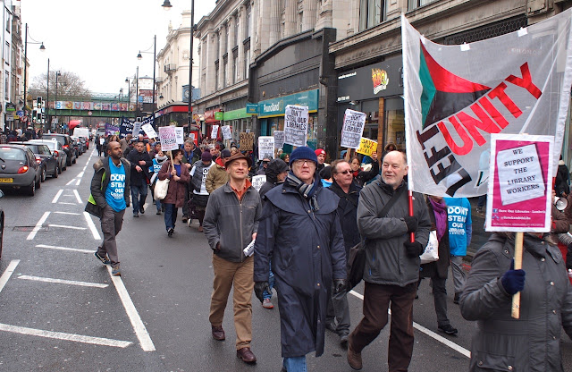 Save Lambeth Libraries march, against threat from Lambeth Council to turn two libraries into gyms,  in Brixton, Saturday 5 March 2016