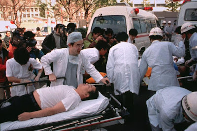 March 20, 1995 - Subway passengers affected by sarin nerve gas in the central Tokyo subway trains