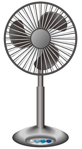 黒っぽい扇風機のイラスト。