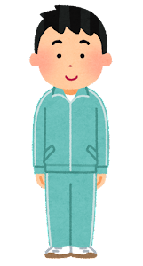 ジャージを着た男性のイラスト(水色)