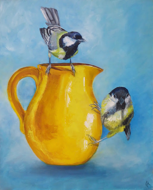 A little bit of sunshine, still life of a yellow jug with birds