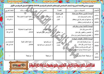 توزيع منهج اللغة العربية للصف السادس الابتدائي للترم الاول 2018 - 2019