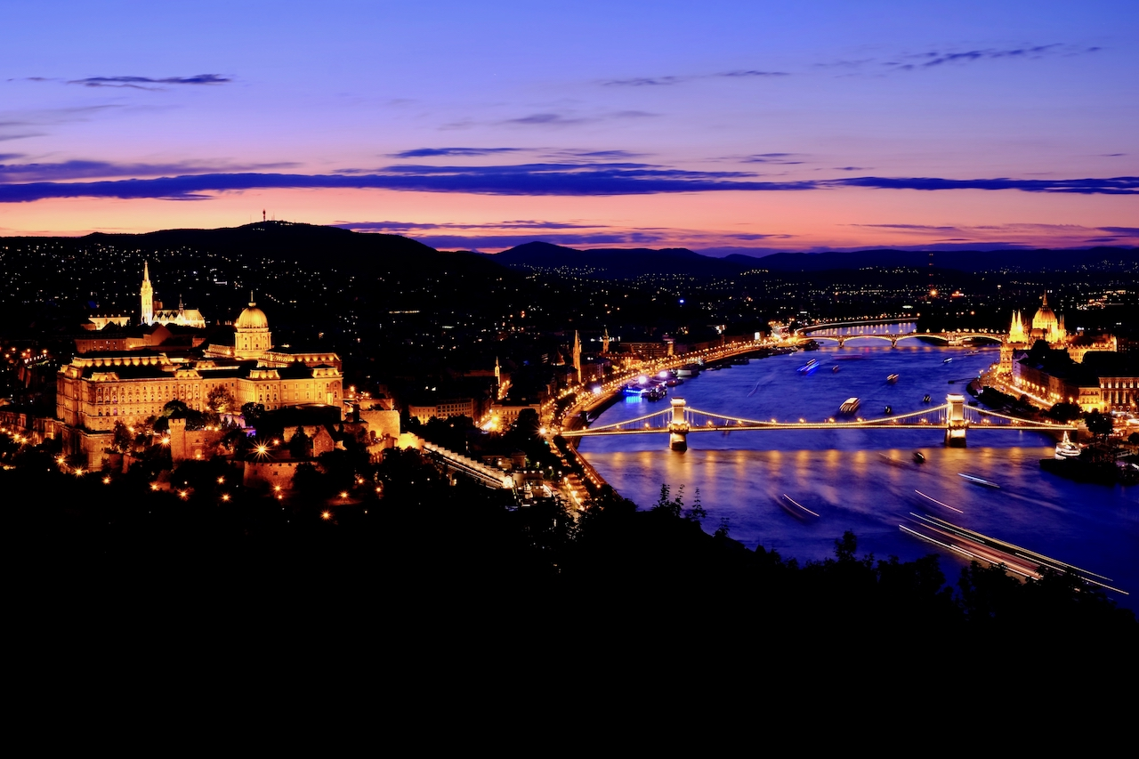 Sunset view from Citadella, Budapest