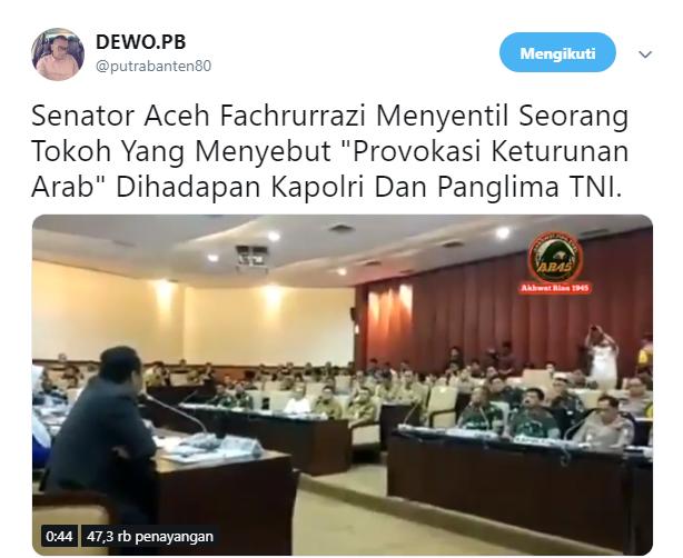 Dihadapan Panglima TNI dan Kapolri, Fachrurrazi Kecam Keras Hendropriyono Soal Keturunan Arab