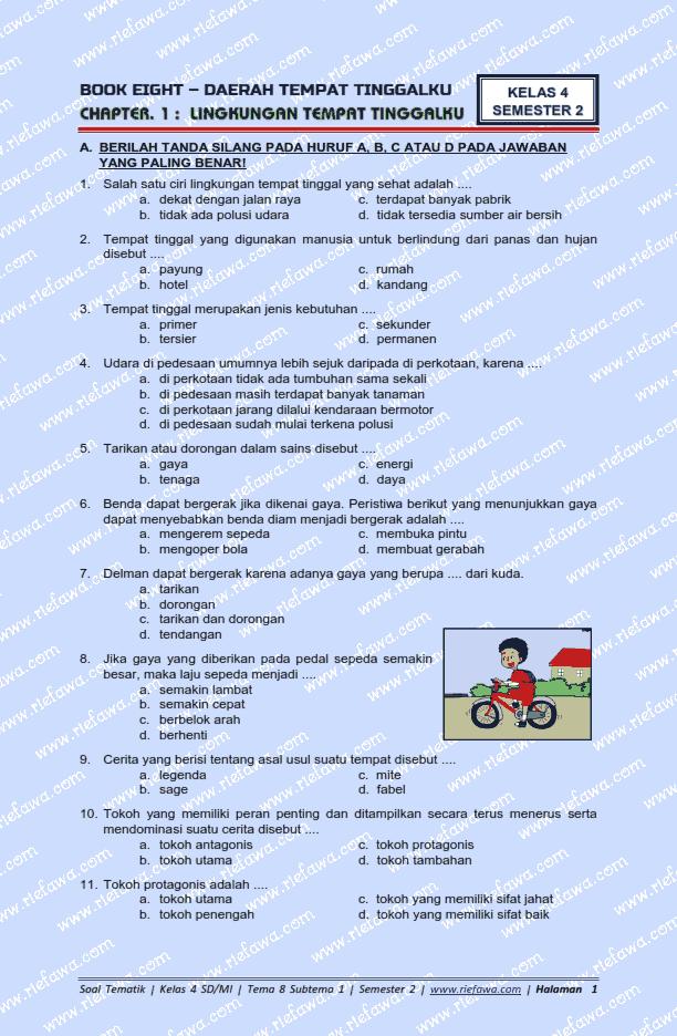 Soal Ulangan Tema 8 Kelas 4 : ulangan, kelas, Kelas, Subtema, Semester, Kurikulum, Tahun
