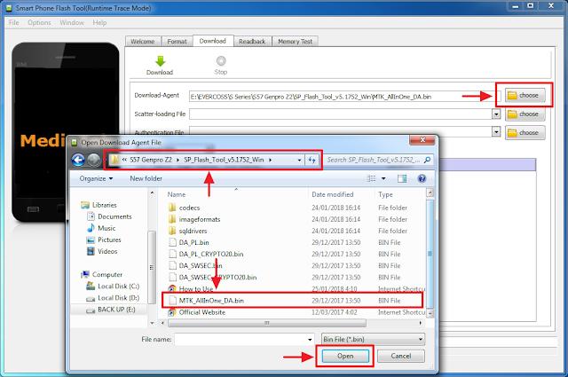 silahkan masukkan file  MTK all in one DA bin untuk flash genpro Z2 S57