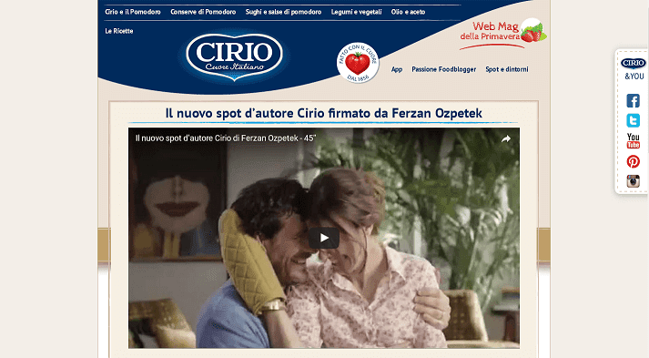 Picture to Italian food exporter company named Crio