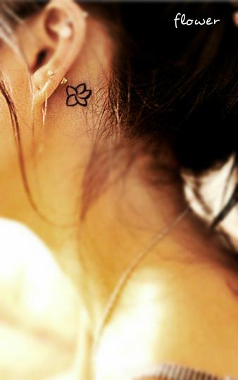 Tiny Tattoos Behind Ear: Free Tattoo Designs: Flower Tattoos